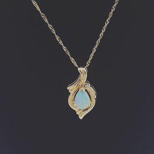 Opal gold necklace 14 karat